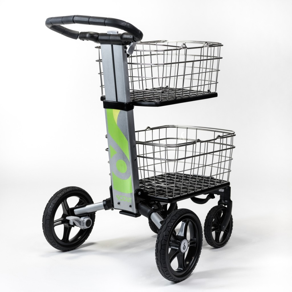 city shopping cart with removable baskets and foot brake