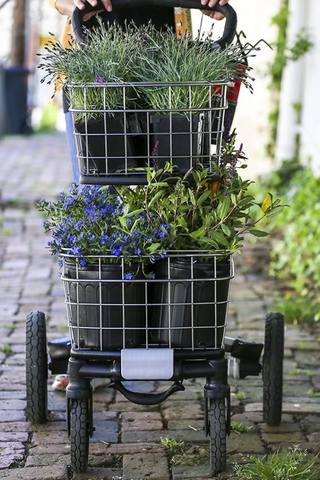 portable shopping cart with wheels for flower planting